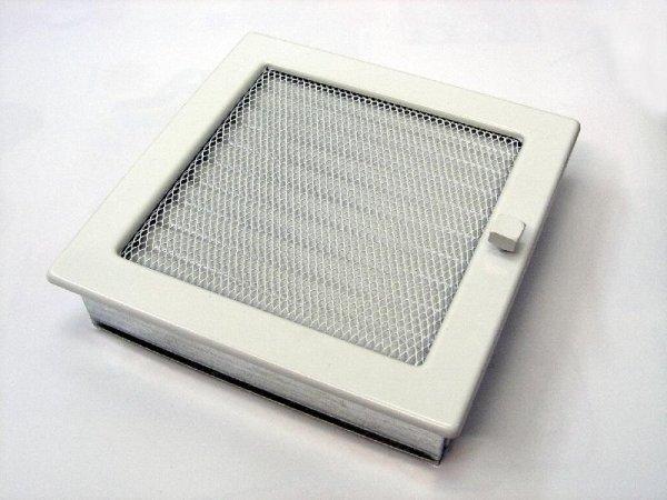 Вентиляционная решетка Kratki 22х22 белая с жалюзи 22BX фото