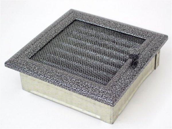 Вентиляционная решетка Kratki 17х17 Оскар черная/хром с жалюзи 17OCSX фото