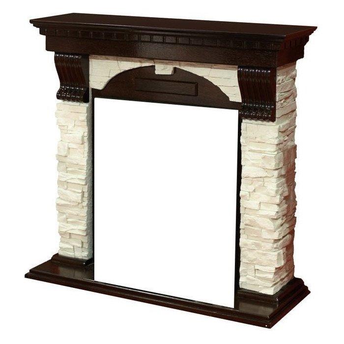 Классический портал для камина Dimplex Dublin арочный сланец белый (Темный дуб) фото