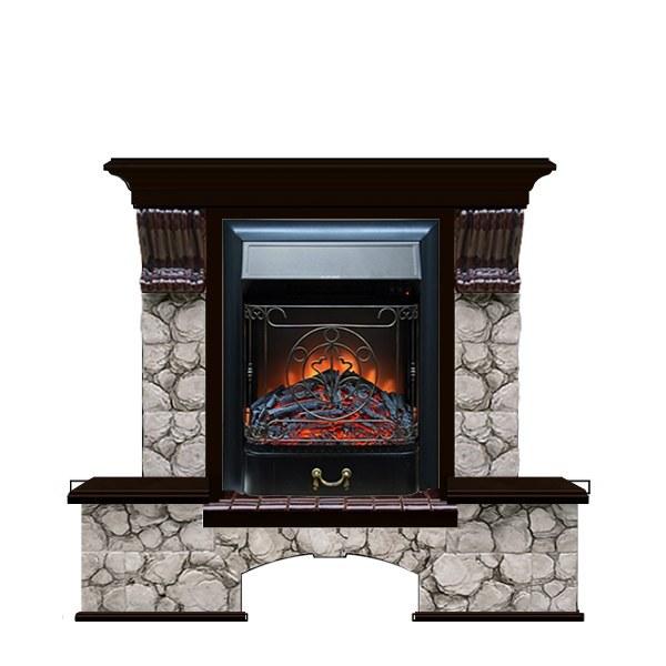 Современный камин для загородного дома Glenrich Бостон К (Magestic BL,BR) камень-Карелия/цвет-Венге фото