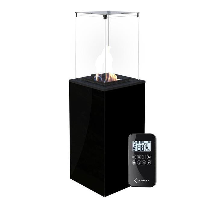 Напольный газовый обогреватель Kratki Kratki PATIO MINI/G31/37MBAR/CZ - черное стекло, с пультом ДУ
