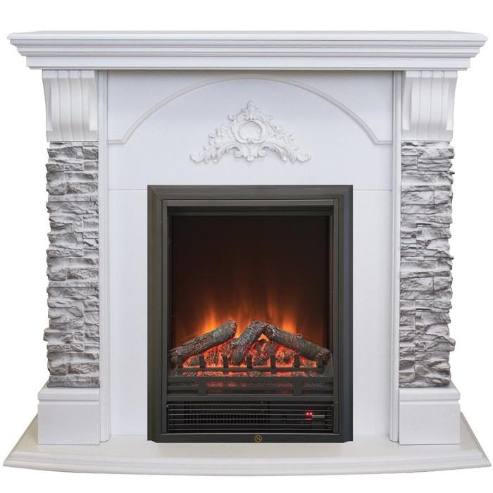 Современный камин для загородного дома Real-Flame Athena GR STD/EUG/25/24 WT с очагом Eugene фото