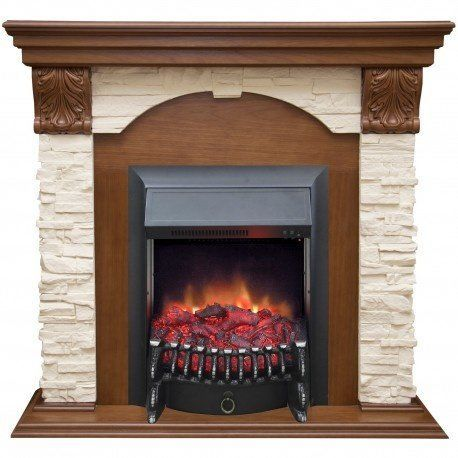 Современный камин для загородного дома Real-Flame Dublin LUX STD/EUG AO с очагом Fobos s Lux BL/BR, Majestic s Lux BL/BR фото