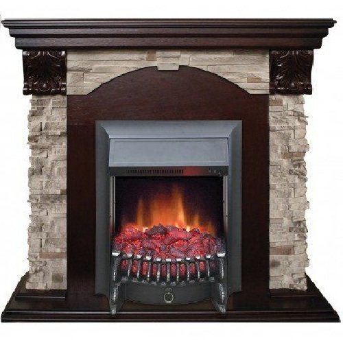 Камин для дома электрический Real-Flame Dublin ROCK STD/EUG 24 AO с очагом Fobos s Lux BL/BR, Majestic s Lux BL/BR фото