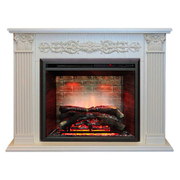 Камин белого цвета Real-Flame Milton 25,5/26 WT с очагом 3D Leeds 26 фото