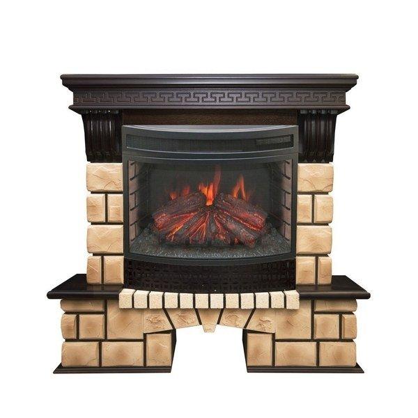 Камин для дачи Real-Flame Stone Brick 25/25,5 с очагом Firefield 25 S IR фото
