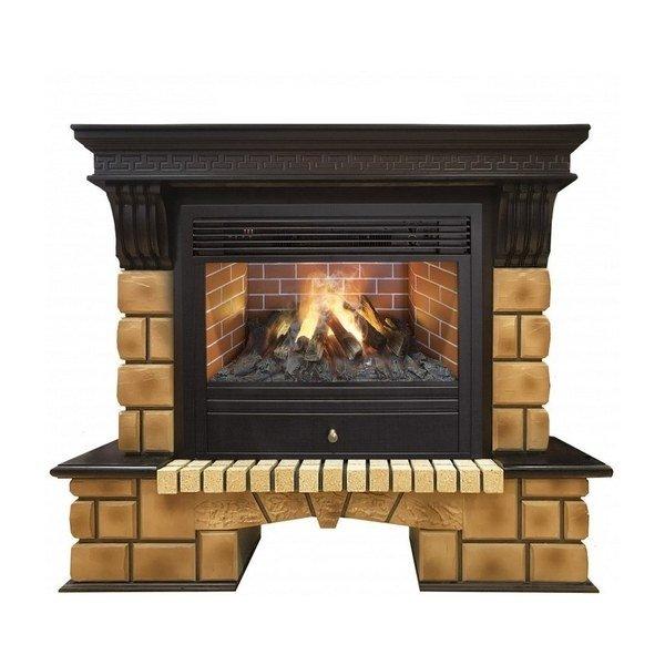 Электрический камин со звуком Real-Flame Stone Brick 26 с очагом 3D Novara фото