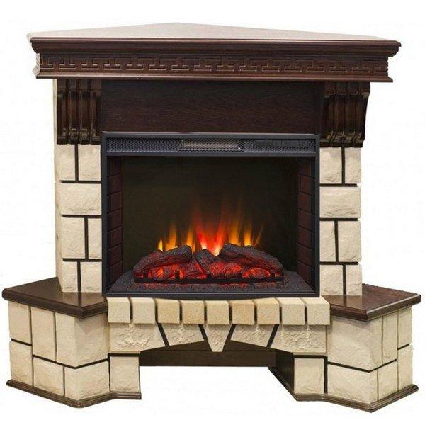 Электрический камин для квартиры Real-Flame Stone Corner new 25 с очагом Sparta 25,5 LED фото