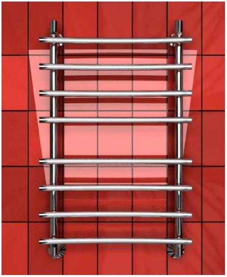 Водяной полотенцесушитель шириной 510 - 600 мм Двин R PRIMO BACK 80/60 фото