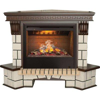 Real-flame Stone New Corner с очагом 3D Helios