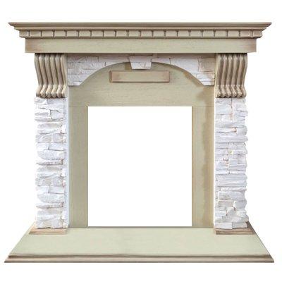 Портал из камня Royal flame Dublin арочный сланец крем под классический очаг