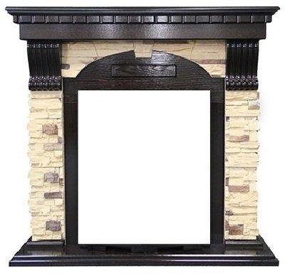 Портал из камня Royal flame Dublin арочный сланец/сланец белый под классический очаг